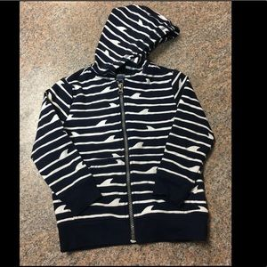 Old Navy navy white shark striped zip up hoodie